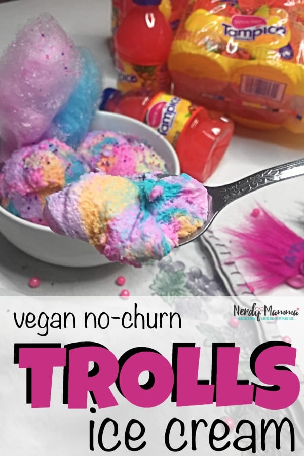 """#AD My kids are obsessed with """"Trolls: The Beat Goes On."""" And now, I'm obsessed with thisVegan No-Churn Trolls Ice Cream with Tampico Fruit Punch. Let's play some """"Tampico Flavor Hunt"""" and get our ice cream on. #TampicoJuice #TampicoFlavorHunt #TheBeatGoesOn #NerdyMammaBlog"""