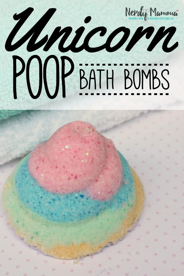 So...this adorable pile of crap? Yeah, I'd love to say that I made this in a pique of sweet thoughts--but no. I was just being my own person al 3rd-grader. But, you know, these Unicorn Poop Bath Bombs turned out so adorable--nothing like the pieces of sh*t they could have turned out to be. LOL! #nerdymammablog #unicorn #unicornpoop #bathbomb