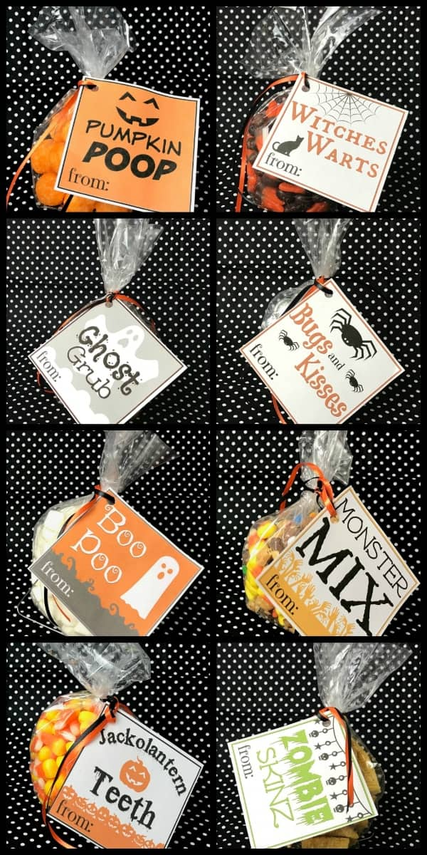 These are the single cutest (and easiest) Fall and Halloween Party gifting idea ever. Seriously, you just print these Free Printable Halloween Goodie Bag Labels, then slap them on a tiny bag of candy and tie with a string. #nerdymammablog #halloween #freeprintable