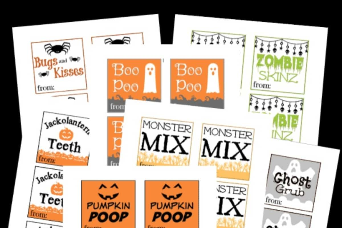 photograph regarding Printable Halloween Labels named Absolutely free Printable Halloween Goodie Bag Labels - Nerdy Mamma