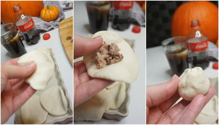 flattened biscuits being filled with beef