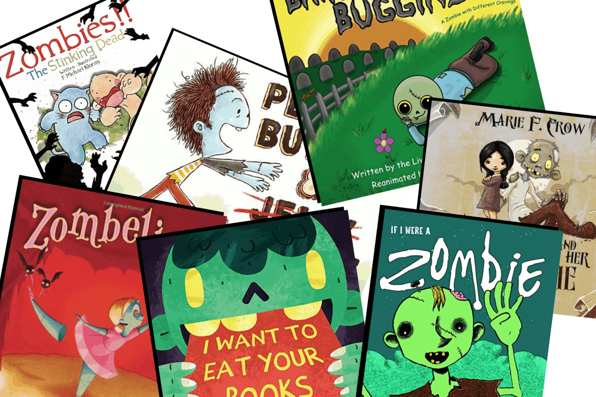 collage of zombie books for kids