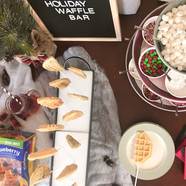 #ad Quick, easy and so much fun...this is How to Set Up a Holiday Waffle Bar so that your guests are fed--but you're not slaving in the kitchen while the kids are dying of hunger. #LeggoYourEggo #MoreEggo2Lov