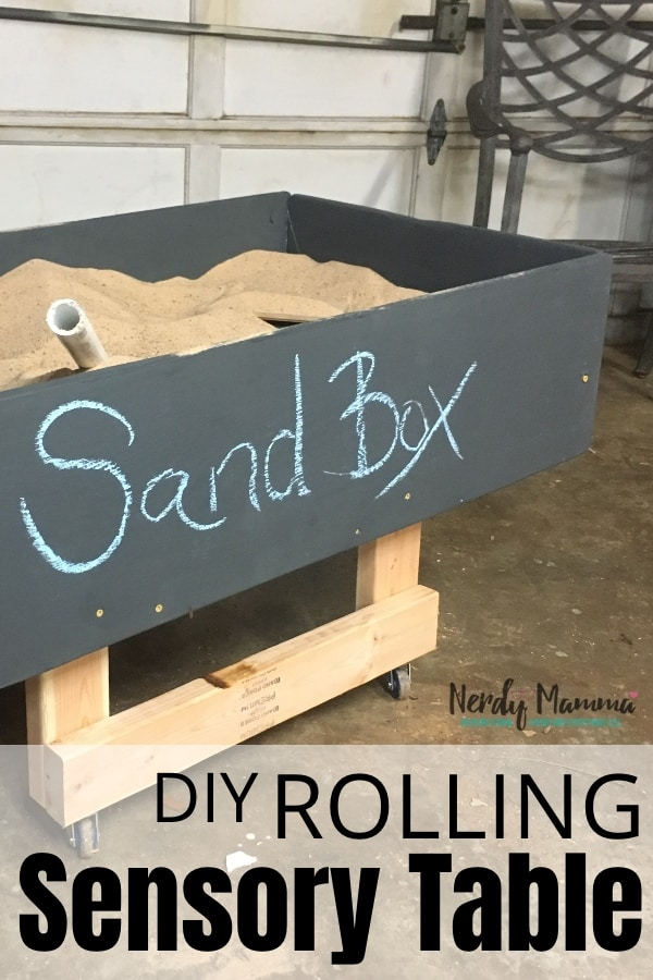 I needed a way to keep my kids occupied while I worked in the workshop. But i really didn't want to put a TV in there. So, I figured out How to Make a Rolling Sensory Table (Sand Box - It's a Rolling Sandbox). Enjoy. #nerdymammablog #sensorytable