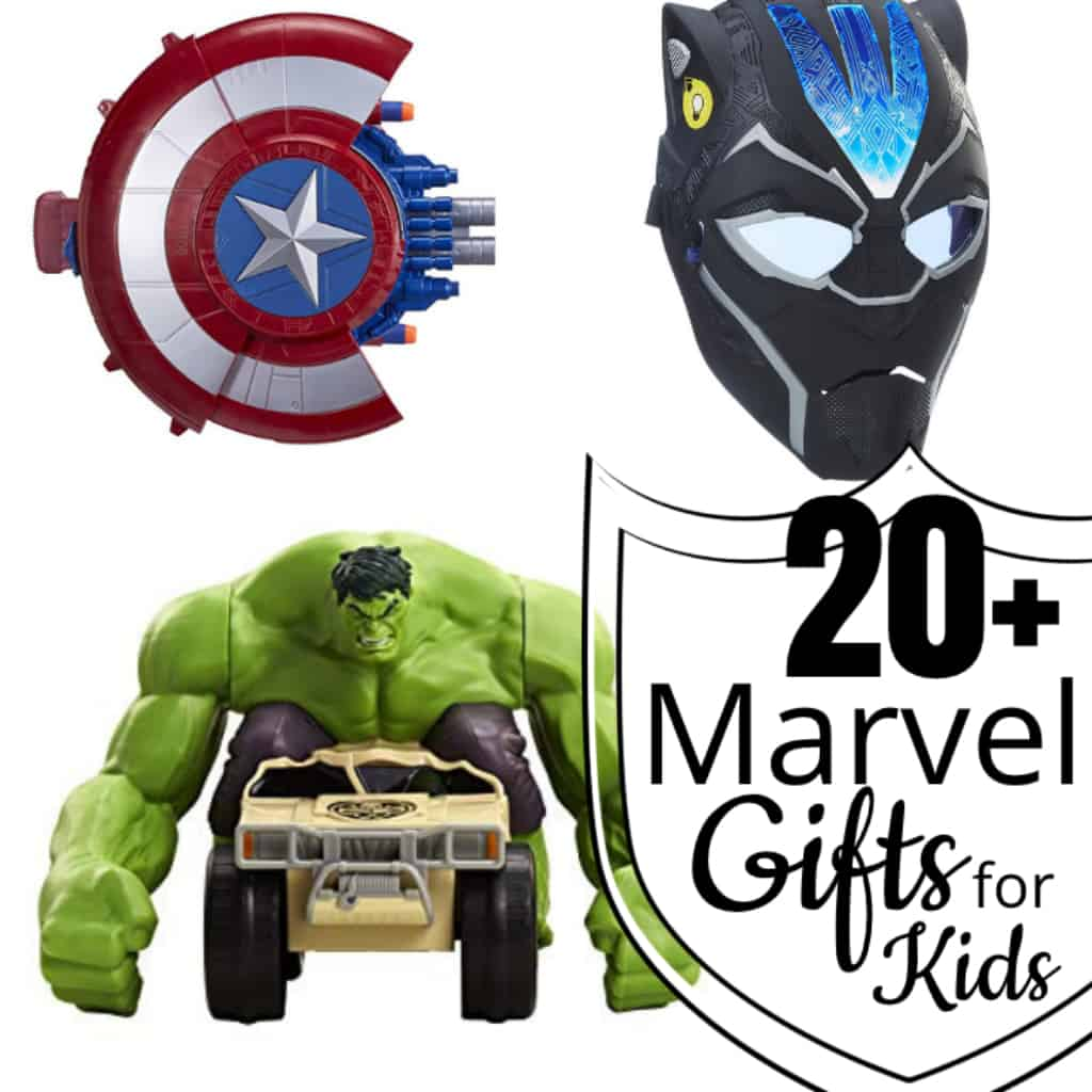 It doesn't matter if your kid is obsessed with the Guardians of the Galaxy or Captain America, Spiderman or Black Panther, these 20+ Marvel Gifts for Kids will knock their socks off. #nerdymammablog #giftguide #marvel