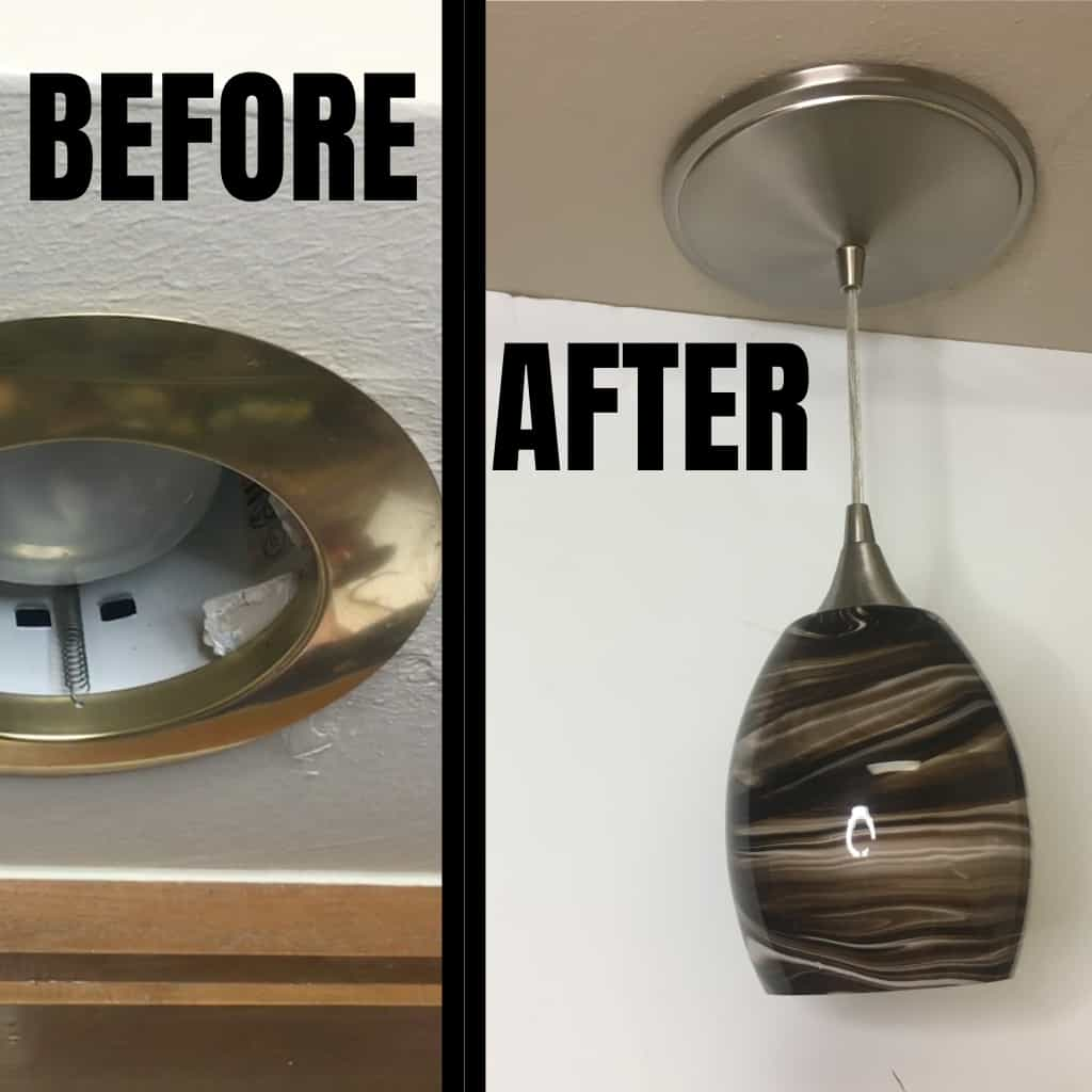 This project is so simple, I kind of felt dumb posting about it--but I didn't know, so maybe you don't either. This is the 5-Minute Can Light to Pendant Light Install--so easy, you'll want to do every can light in your house. #nerdymammablog #homeimprovement