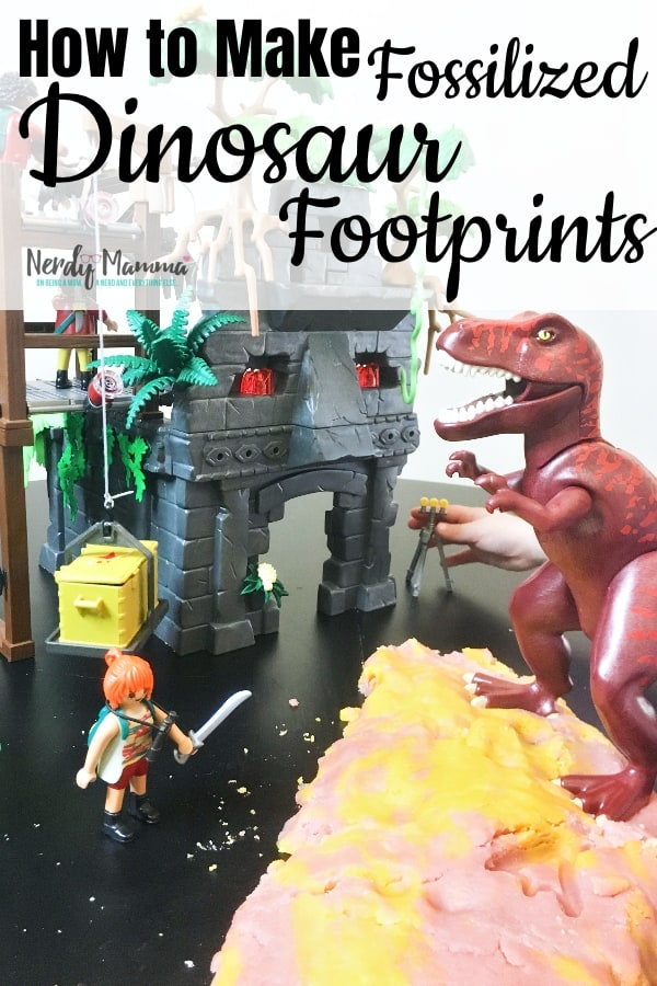 How to Make Fossilized Dinosaur Footprints with Taste-Safe Volcano Salt Dough and PLAYMOBIL Hidden Temple with T-Rex. #ad #nerdymammablog #dinosaur