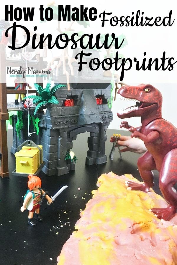How to Make Fossilized Dinosaur Footprints with Taste-Safe Volcano Salt Dough and PLAYMOBIL Hidden Temple with T-Rex. #ad #nerdymammablog #dinosaur