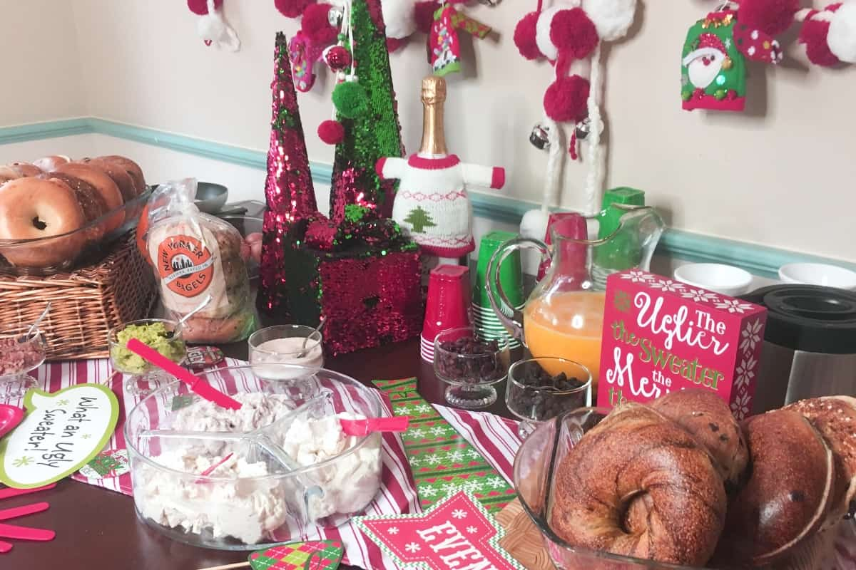 #ad I love a great, traditional party. But you know what I really love? A party that's fun and silly and has it's own pazzazz. This is How to Host an Ugly Christmas Sweater Party and a DIY Hack Your Bagel Bar--because that's a real party. #nerdymammablog #christmasparty