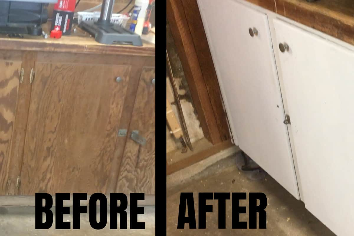 My workshop was a veritable dungeon because it was so dark. This is How to Improve Lighting In Your Workshop by Painting Cabinets. Because WOW! It really does make a difference. #nerdymammablog #diy #homeimprovement