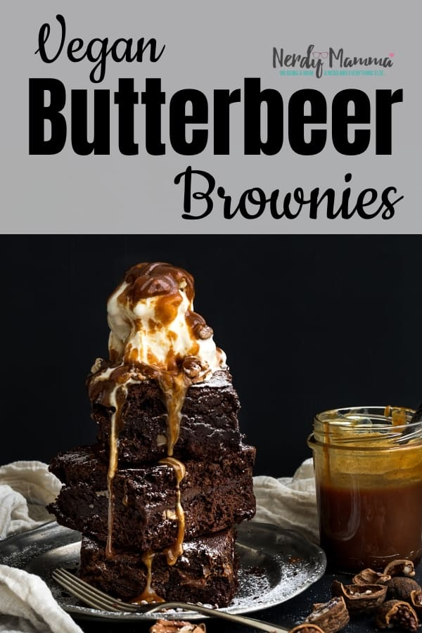 If you want to have an overload of amazingness in your mouth, you have to make these Vegan Butterbeer Brownies. Harry would be jealous. #nerdymammablog #vegan #brownies #harrypotter