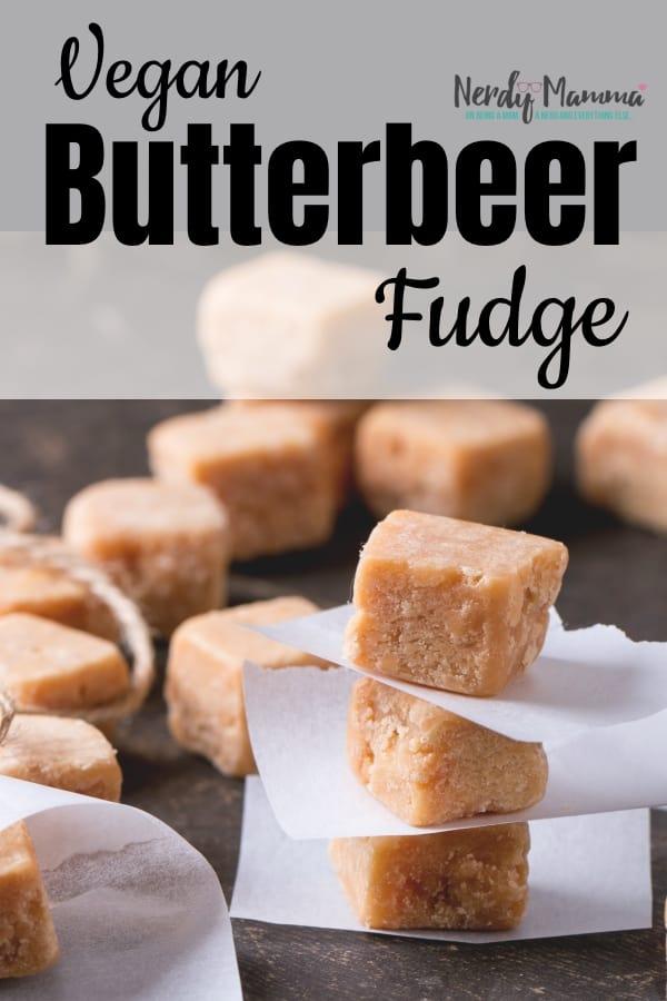 This golden Harry Potter dessert is so amazing, my Niffler has taken to stealing bites of this Vegan Butterbeer Fudge instead of gold. #nerdymammablog #vegan #harrypotter #fudge