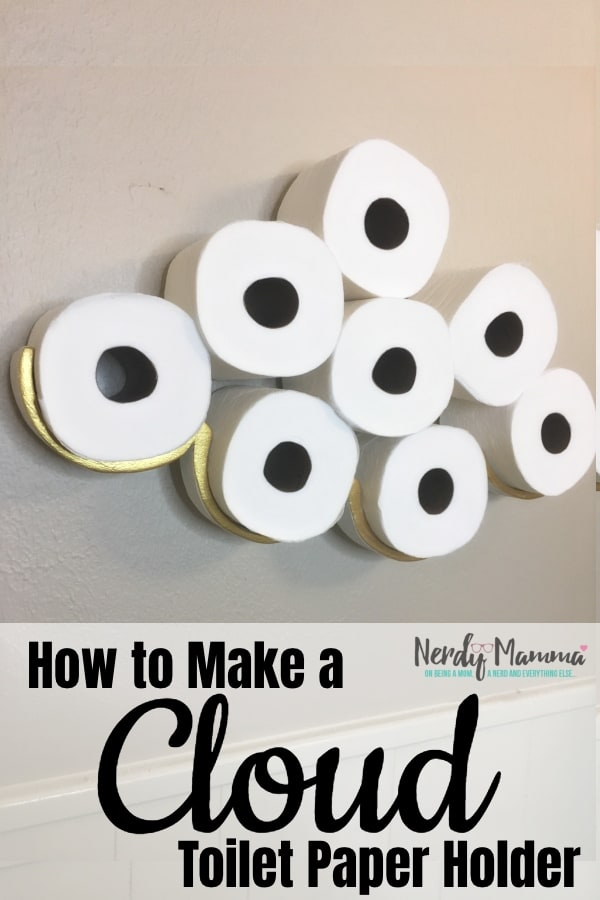 My guest bathroom has zero room for storage--but I was tired of running elsewhere to get TP. So I figured out How to Make a Cloud Toilet Paper Holder and now I'm on Cloud 9. #nerdymammablog #diy #toiletpaper