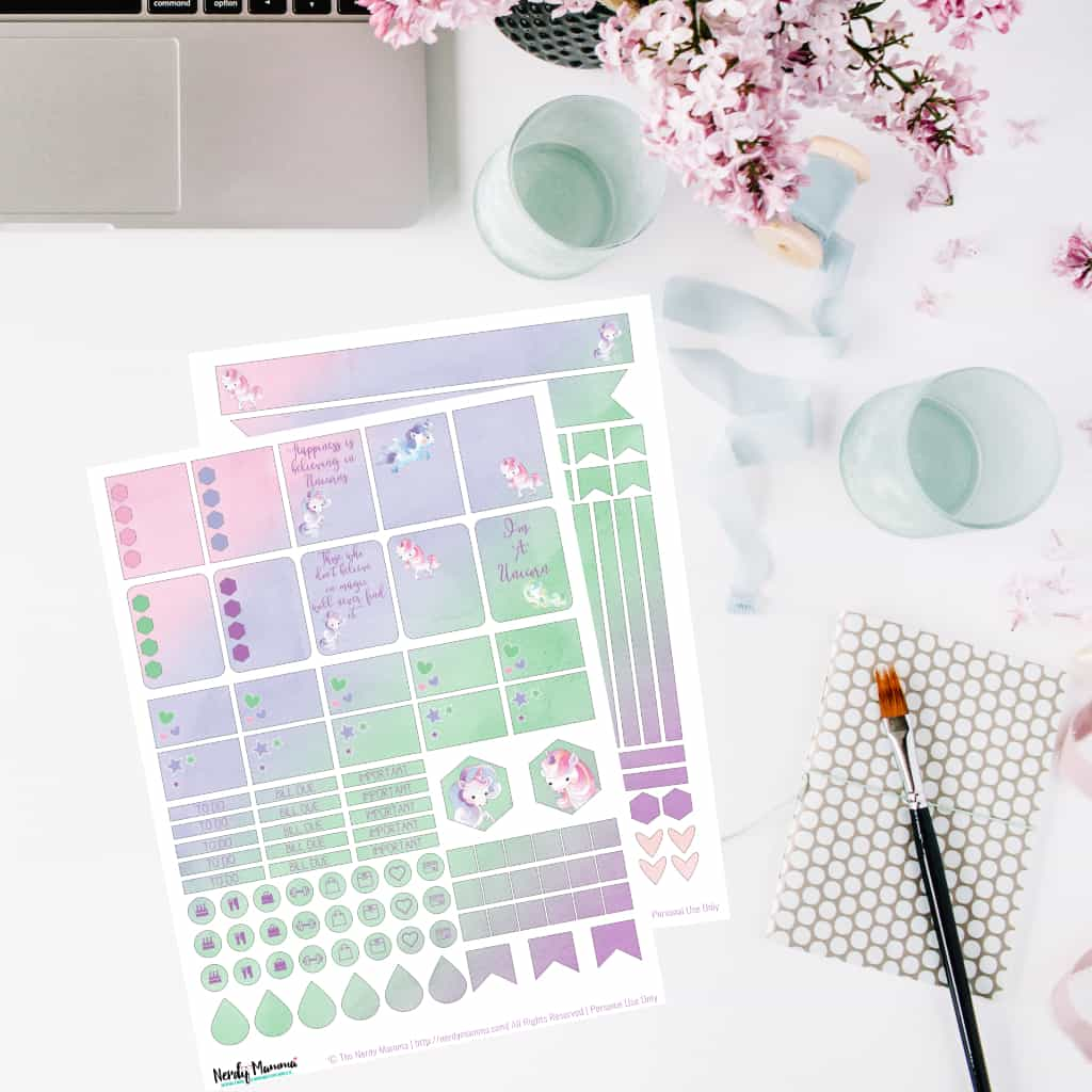 I'm trying to be more organized, so I bought a planner and found some time to make these Free Printable Unicorn Planner Stickers for sharing! #nerdymammablog #unicorn #planner #plannerstickers