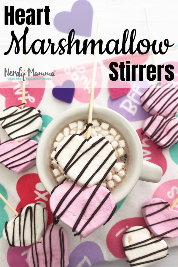 I am so stoked about these simple, fun treats I am planning to make for my kiddo's Valentines Party: Heart Marshmallow Stirrers! #nerdymammablog #valentines #marshmallow