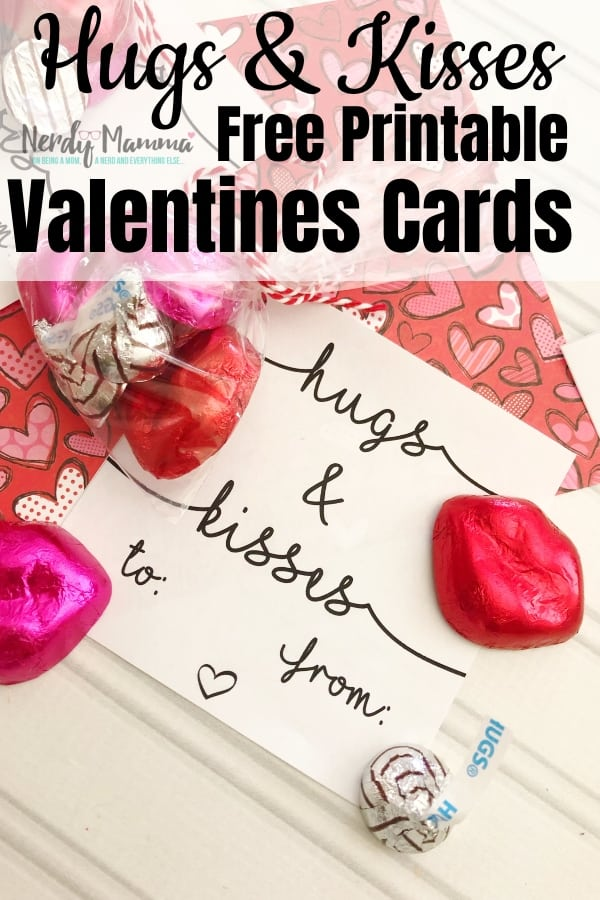 I am not a fan of the boxed Valentine cards everybody buys for their kids. I much prefer unique and fun cards like these Hugs & Kisses Free Printable Valentines Cards! #nerdymammablog #valentine #freeprintable