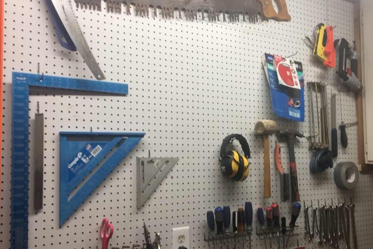 I needed to replace some old pegboard in my workshop, so I decided to figure out How to Install Pegboard in Your Workshop. #nerdymammablog #workshop #diy #howto