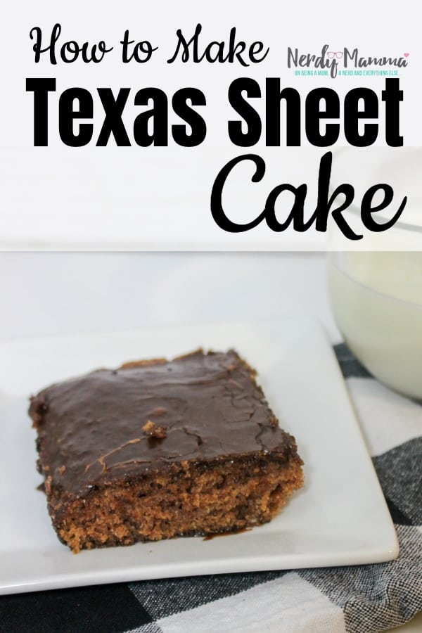 Sometimes, I crave that amazing cake my lunch lady made every Friday. This is How to Make a Texas Sheet Cake and recreate that magic. #nerdymammablog #texassheetcake
