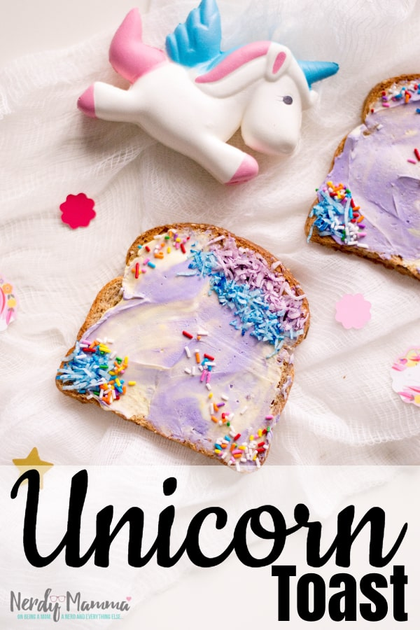 I get my silly on for breakfast sometimes. And this week, I did my silly up with simple and fast Unicorn Toast. Enjoy! #nerdymammablog #unicorn #breakfast