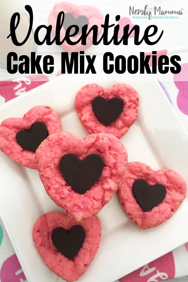You can't have a kid's Valentines party without some hearts or treats...it's a law. Thankfully these Valentine Cake Mix Cookies fit the bill. #nerdymammablog #valentine #cookies
