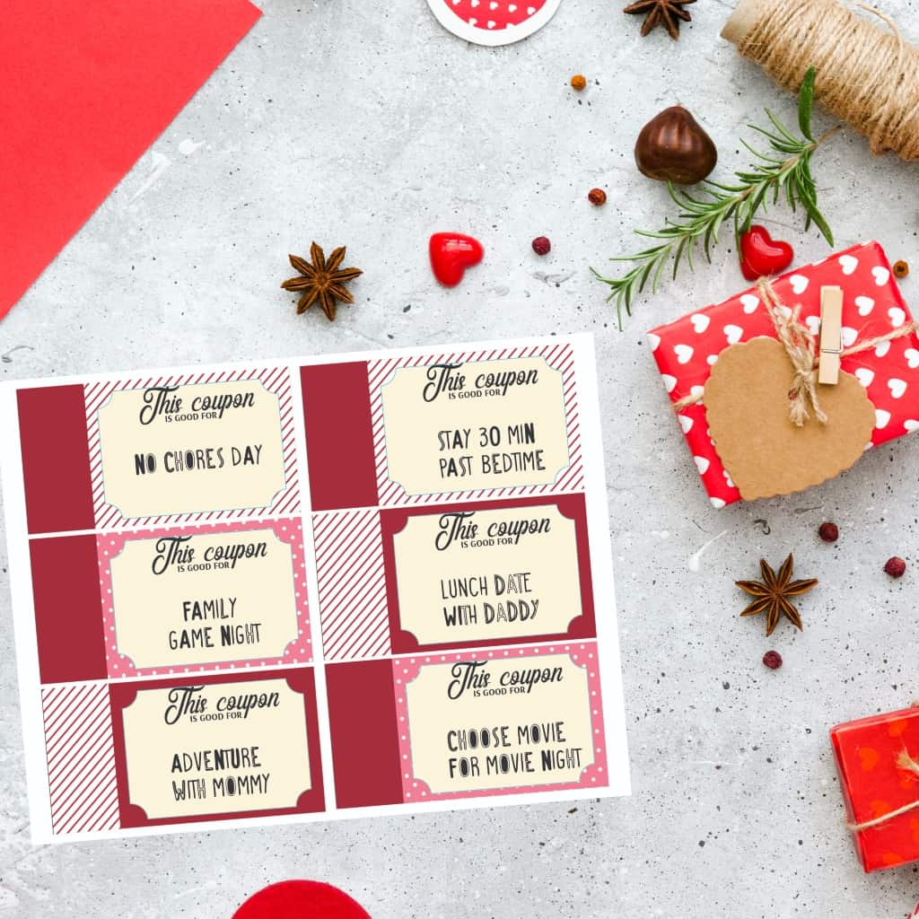 I love spreading the love--and these prewritten or customizable Free Printable Valentine Love Coupons From Mom to Kids are all about the love. #nerdymammablog #valentine #freeprintable