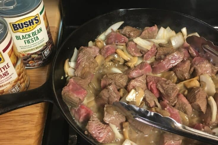 Buttered Steak with BUSH's Savory Beans