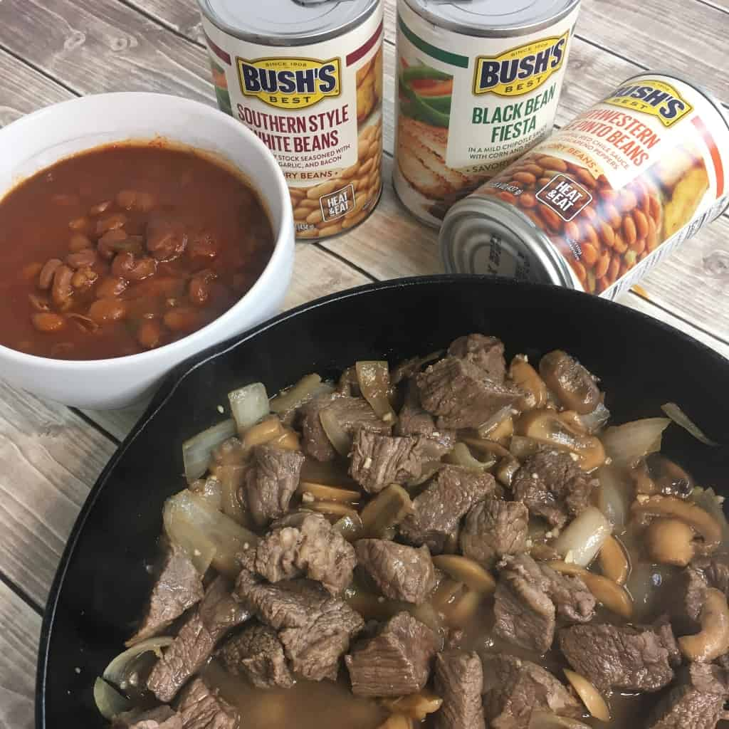 The perfect recipe for those crazy hectic weeknights when we all were getting home so late: Buttered Steak paired with BUSH'S Savory Beans. #nerdymammablog #steak