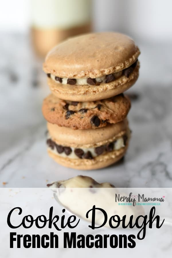 When you want a pick-me-up, there's nothing like having a bit of cookie dough...and these Cookie Dough Macarons are like the week-long version of that perfect feeling of happy. #macaron #frenchmacaron #macaroncookies #macaronrecipe #cookiedough #cookie #cookiedoughmacaron #nerdymammablog