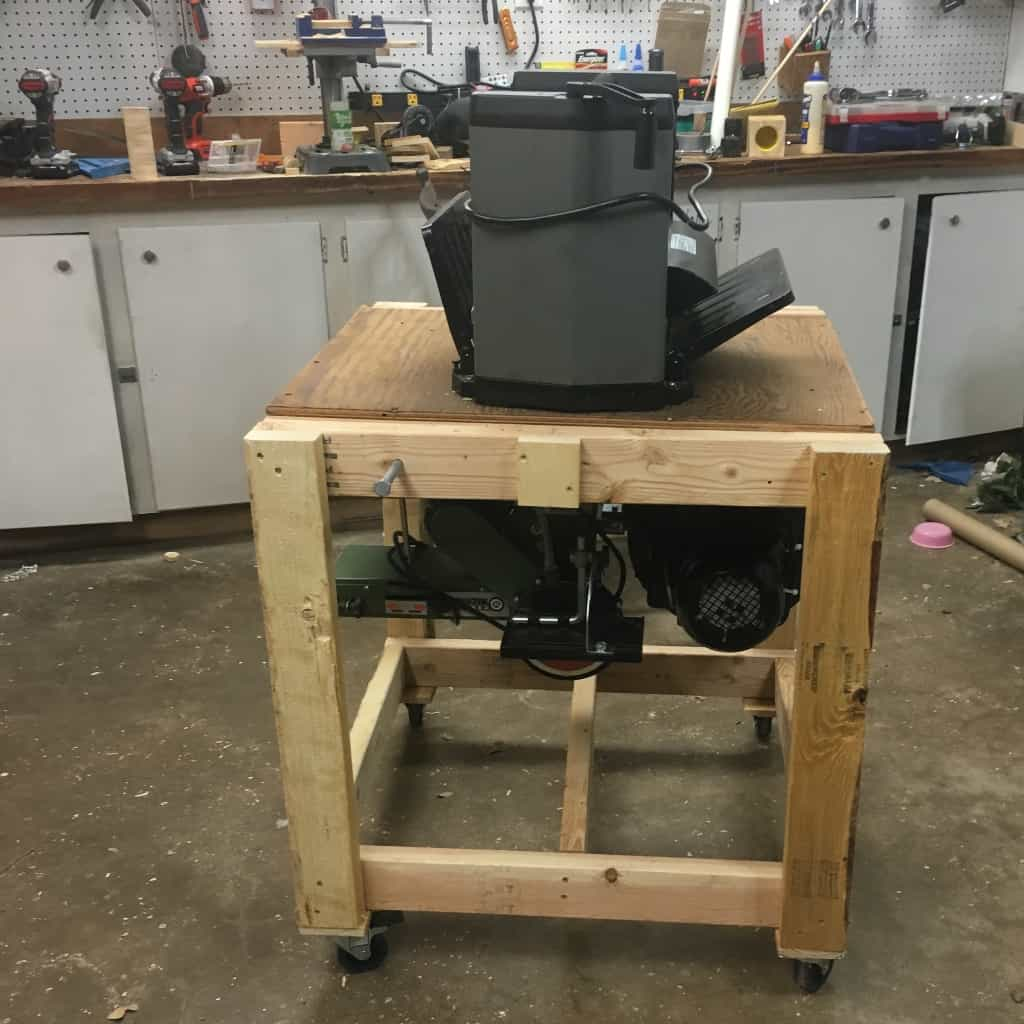 My shop is rather small, and I needed more workbench space--and I got a new tool. So I decided to make this Simple Rolling Flip-Top Tool Cart. #nerdymammablog #workshop #toolstand #toolcart #howto #build #woodworking