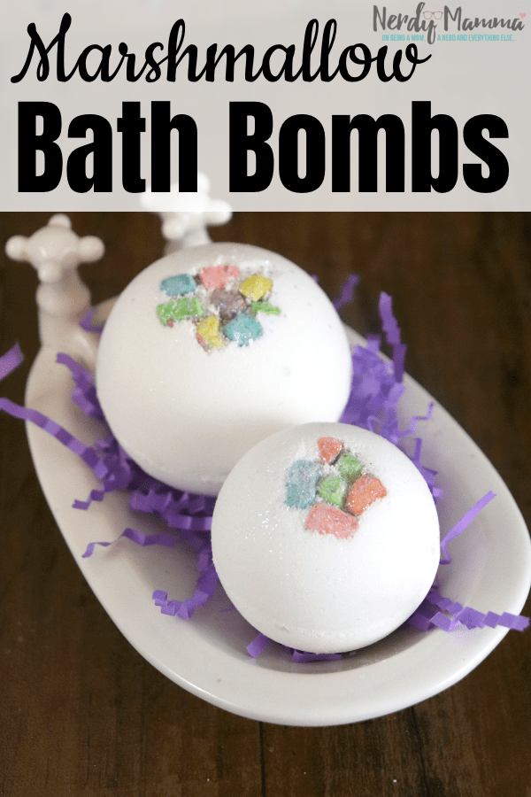 There's nothing better than sinking into a big, hot bath with the sweet, soft scent of marshmallows swirling around you. These Marshmallow Bath Bombs soooo do it for me. #nerdymammablog #bathbomb #bath #marshmallow
