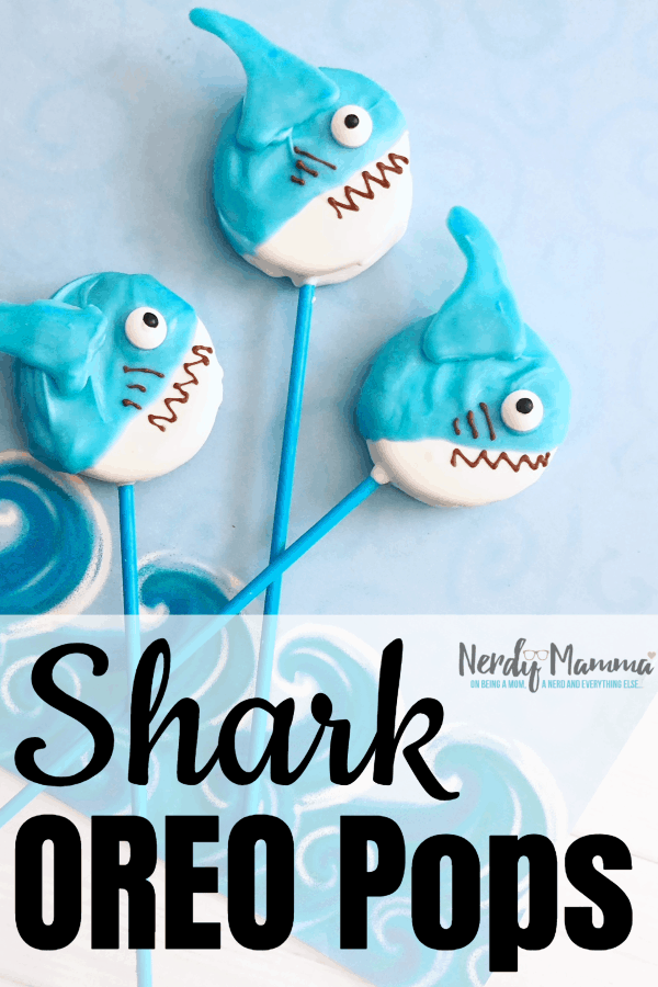 I cannot wait for summer this year, or Shark Week this year, or anything...nor can I wait to devour a million bites of these Shark OREO Pops. No kidding, they're amazing. #nerdymammablog #shark #sharkweek #OREO #Oreocookiepops #cookie