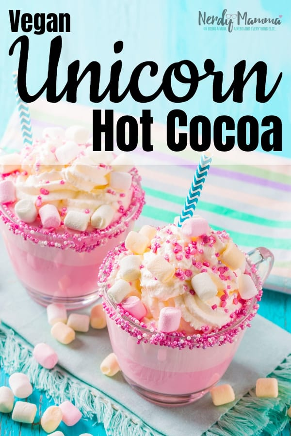 I decided I was tired of being cold and, frankly, wandering around the house with a blanket around you is, well, silly. So I made some Vegan Hot Chocolate (AKA Vegan Unicorn Hot Cocoa) to warm me up! #nerdymammablog #unicorn #hotcocoa #hotchocolate #vegan