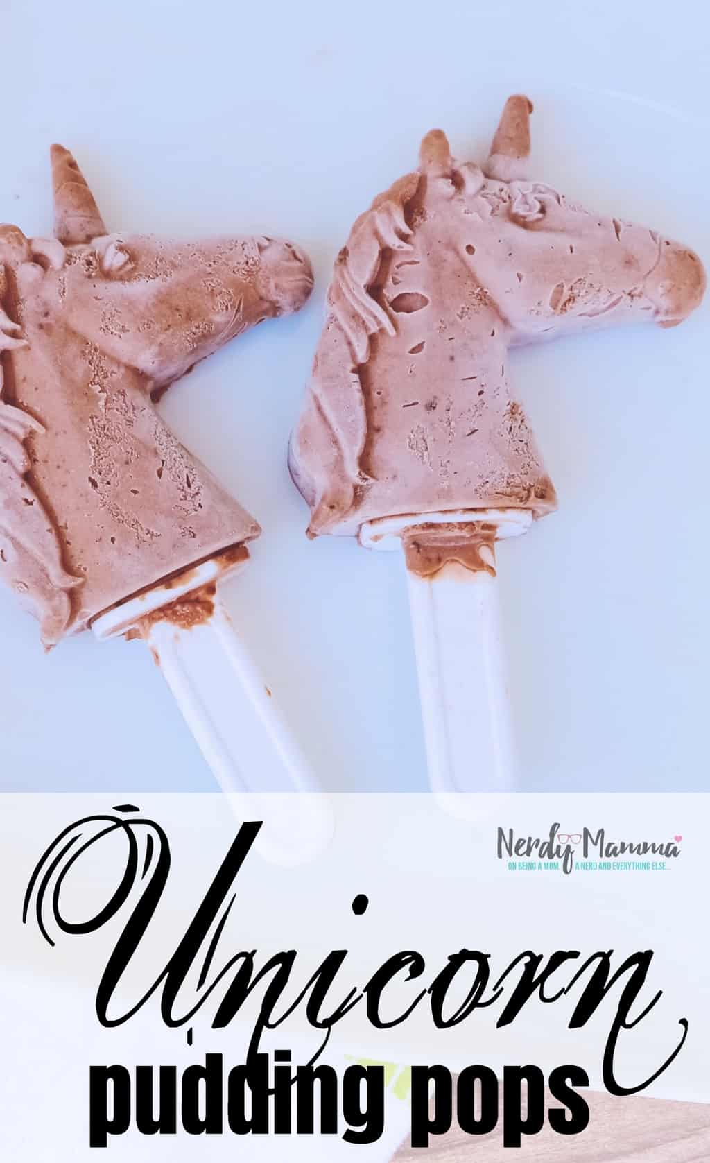 I have to admit, I'm not always a fan of chocolate. But when I made these Ridiculously Chocolatey Unicorn Pudding Pops, I couldn't get enough! #unicorn #puddingpop #unicornpuddingpop #sumemrtreat #popsicle #nerdymammablog