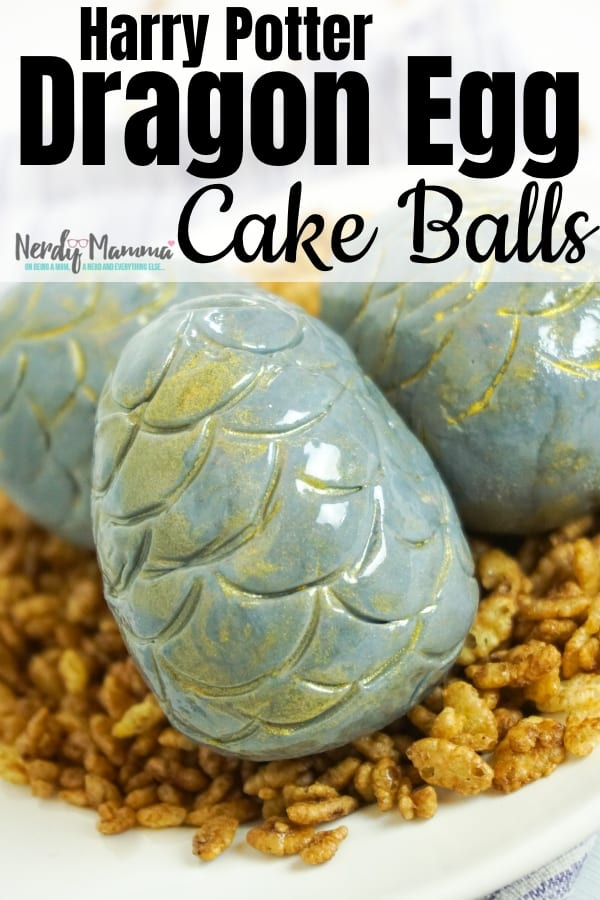 My kiddo asked for a dinosaur and dragon egg nest for her birthday party. How could I not deliver?! So I made these amazing Harry Potter Dragon Egg Cake Balls! #harrypotter #got #dragonegg #draton #cakeball #cake #cakedecorating #nerdymammablog