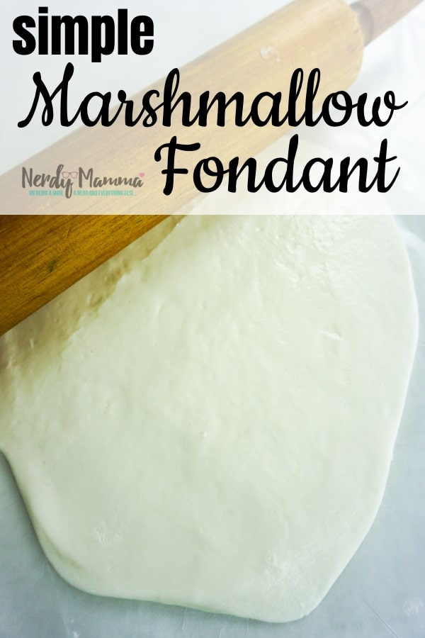 This Simple Marshmallow Fondant Recipe is just about the most amazing and easy way to cover ANY kind of treat or cake. I'm so tickled I figured it out! #marshmallowfondant #fondant #fondantrecipe #cakedecorating #easymarshmallowfondant #nerdymammablog