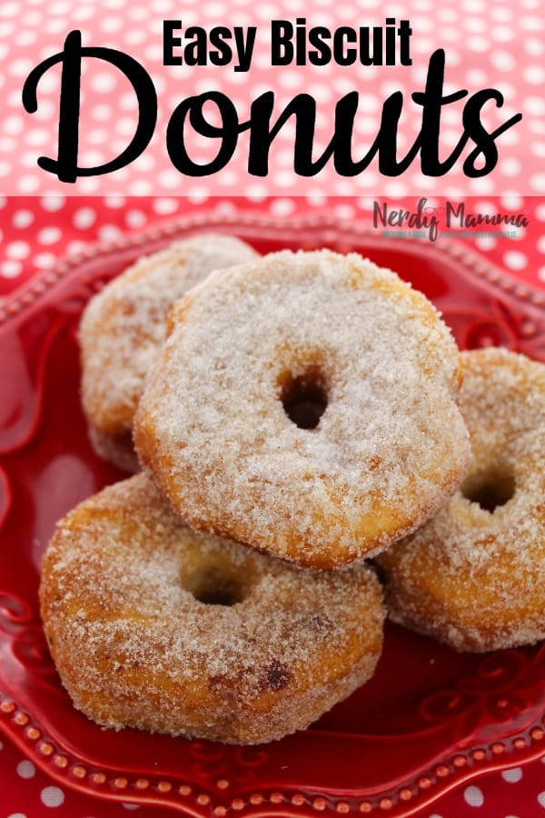 You know those amazing sugar donuts you get at the Chinese Buffet? Yeah, I hacked their Simple Cinnamon-Sugar Biscuit Donut Recipe and now I'm sharing it. You're welcome. #nerdymammblog #donut #donutrecipe #easydonutrecipe #biscuitdonuts