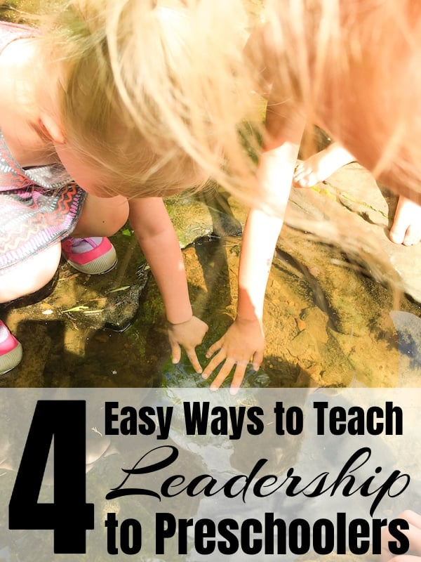 two little girls petting a turtle in a creek with text which reads teach leadership to preschoolers pin