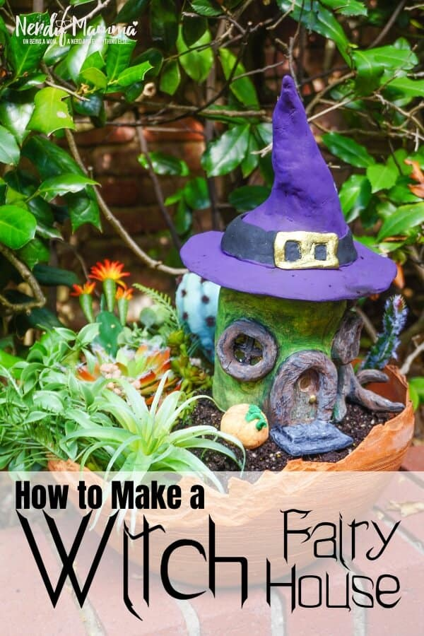 how to make a fairy house for halloween with a witch hat