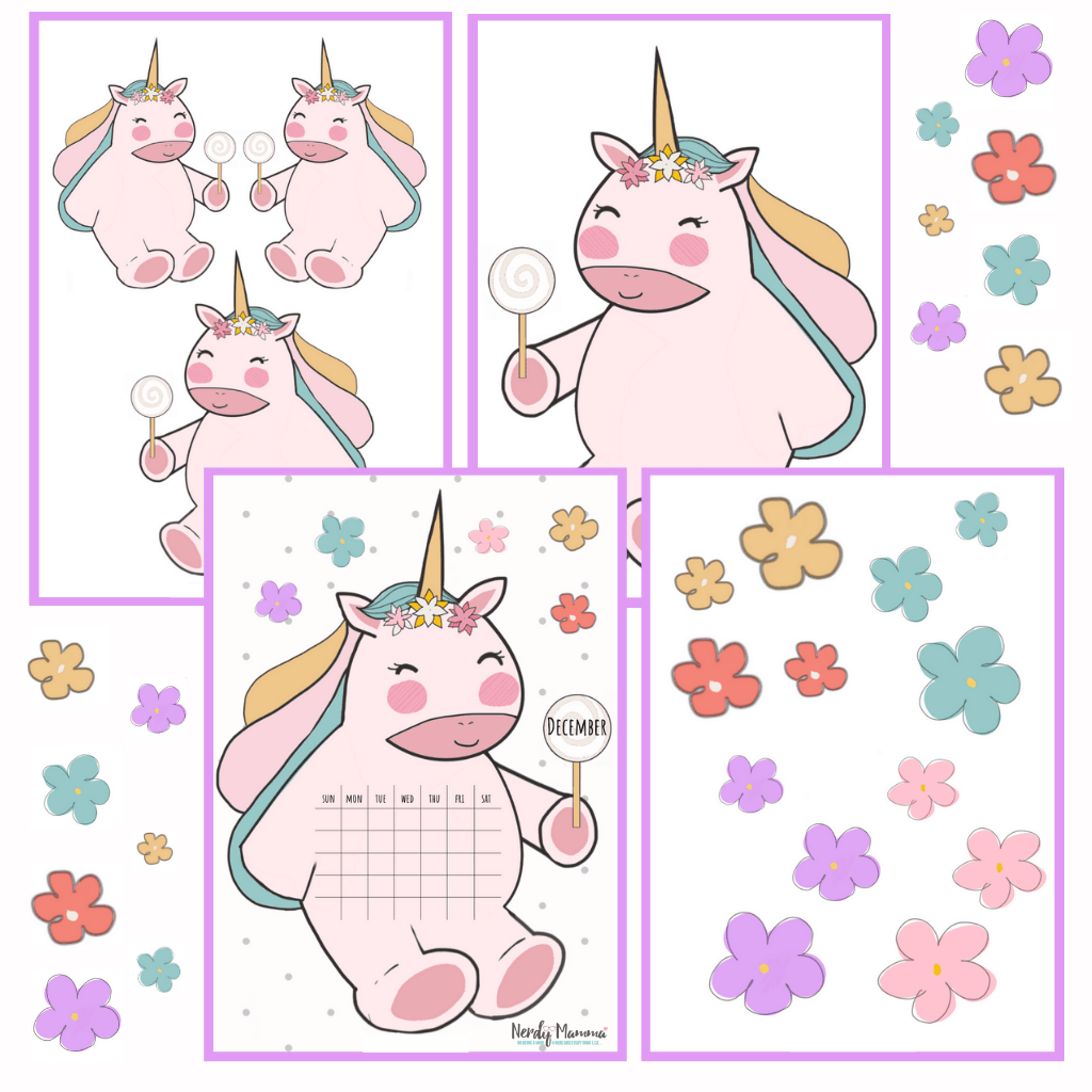 Printable Unicorn Calendars