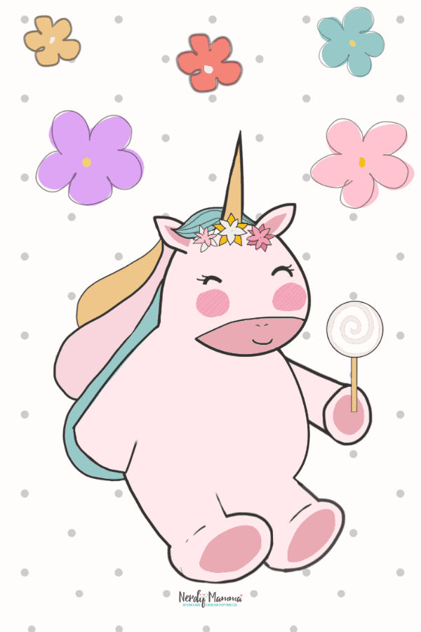 Printable Unicorn and flowers