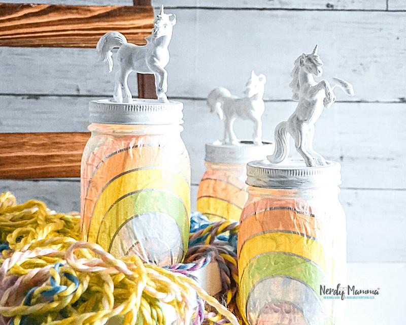 Rainbow Unicorn Mason Jar Nightlights