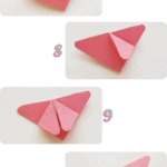 Steps 7 - 10 of making the origami
