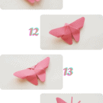 steps 11 - 14 of how to make the origami