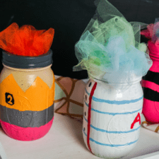 Pencil, Paper, and Crayon Painted Jar Craft