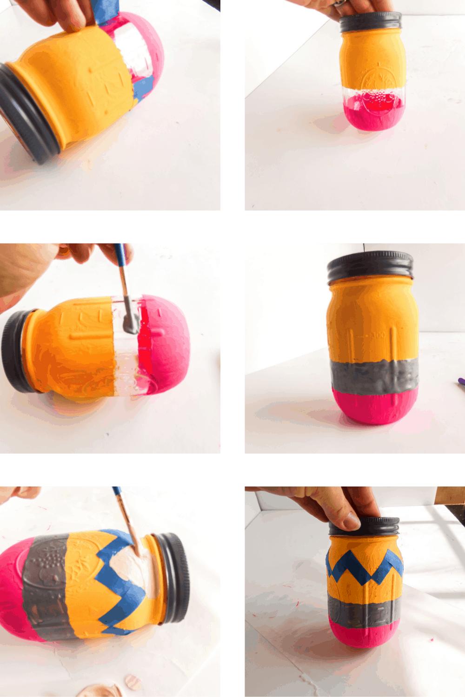 Pencil painted jar craft