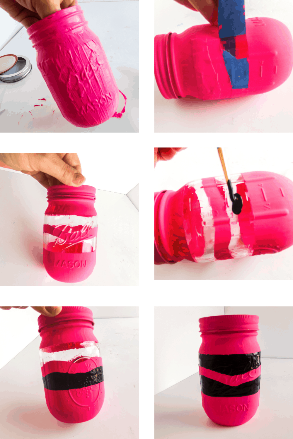 Crayon painted jar craft